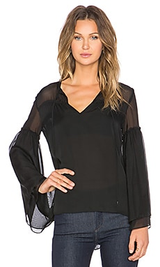 Haute Hippie Tie & Keyhole Front Peasant Blouse in Black