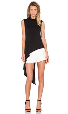 Haute Hippie Sleeveless Asymetrical Shirt in Black
