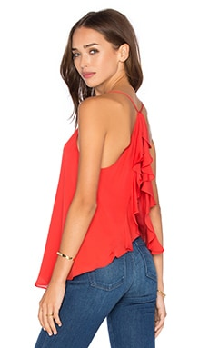 Haute Hippie Flyaway Ruffle V Neck Top in Peach Pop