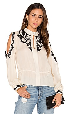 Haute Hippie Lace Applique Cold Shoulder Blouse in Antique