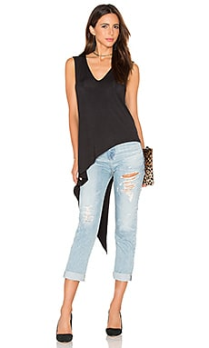 Haute Hippie V-Neck Asymmetrical Tank in Black