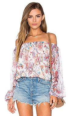 Haute Hippie Cold Shoulder Blouse in Paisley Floral