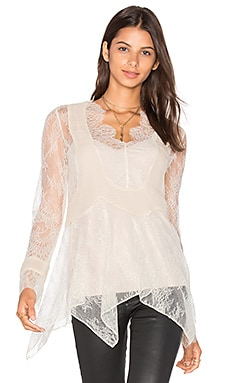 Haute Hippie Chiffon Pleats Lace Blouse in Antique