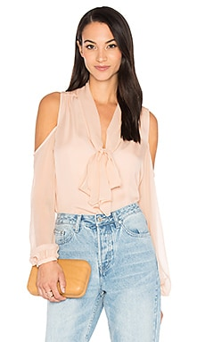 The Vida Cold Shoulder Blouse in Pale Pink