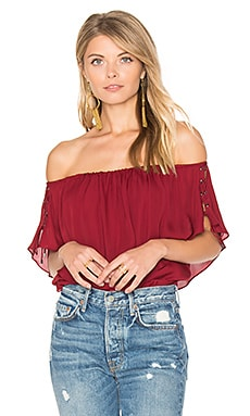 Ruffle Tie Top in Crimson