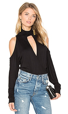 Song In My Heart Cold Shoulder Blouse in Black