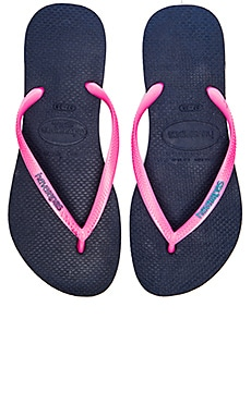 Havaianas Sim Logo Pop Up Flip Flop in Navy & Pink