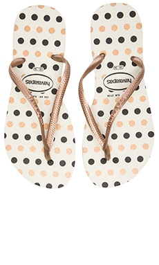 Havaianas Slim Fresh Flip Flop in White & Rose Gold