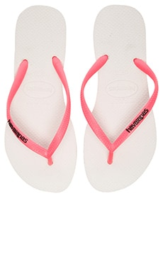 Havaianas Slim Logo Pop-Up Flip Flop in White & Coral