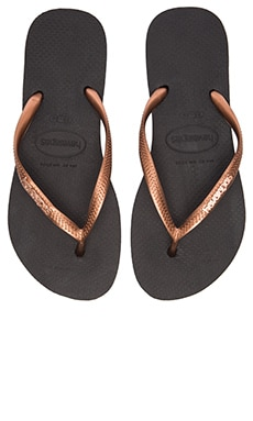 Havaianas Slim Logo Metallic Flip Flop in Black & Copper