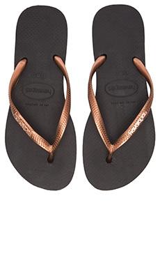 Havaianas Slim Logo Metallic Flip Flop in Black & Copper