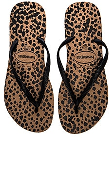 Havaianas Slim Animals Flip Flop in Rose Gold & Black
