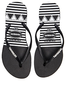 Havaianas Slim Logo Stripes Flip Flop in Black
