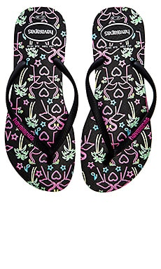 Havaianas Slim Flamingo Flip Flop in Black