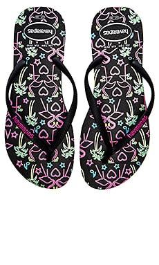 Havaianas Slim Flamingo Flip Flop in Black