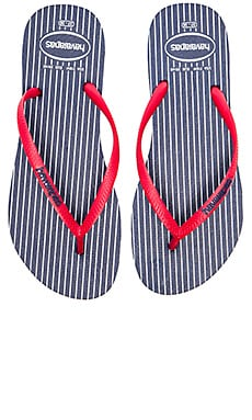 Havaianas Slim Retro Flip Flop in Navy & Red