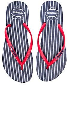 Havaianas Slim Retro Flip Flop in Navy & Red