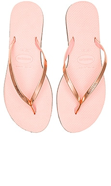 You Metallic Flip Flop in Light Pink