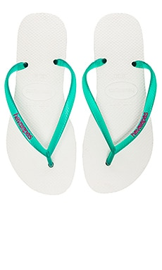 Havaianas Slm Logo Pop-Up in White & Lake Green