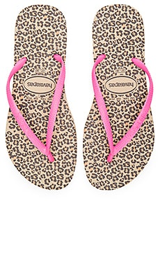 Havaianas Slim Animals Flip Flop in Sand Grey & Pink