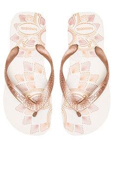 Spring Flip Flop in White & Rose