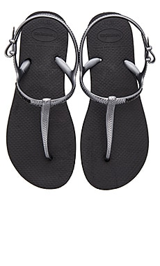 Havaianas Freedom Sandal in Black & Graphite