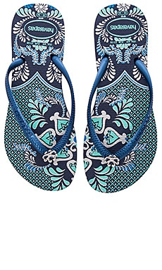 Slim Thematic Flip Flop in Navy Blue