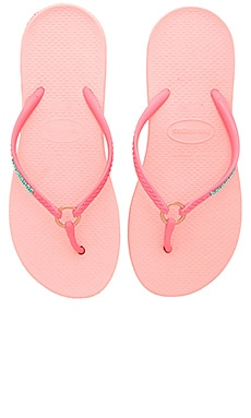 Ring Flip Flop in Light Rose