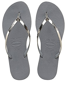You Metallic Flip Flop in Steel Grey