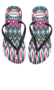 Slim Tribal Sandal in White Black & Pink