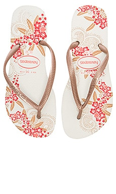 Slim Organic Sandal in White & Rose Gold