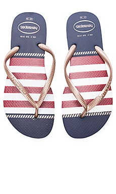 Slim Nautical Sandal in Navy Blue