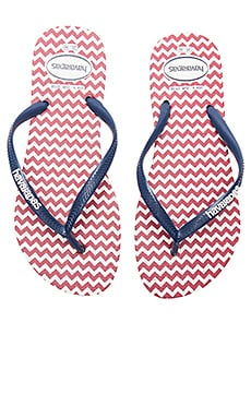 Slim Retro Sandal in White & Navy Blue