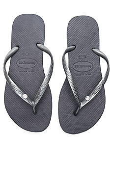 Slim Crystal Glamour SW Sandal in Steel Grey