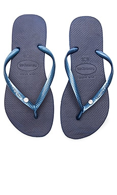 Slim Crystal Glamour SW Sandal in Navy Blue