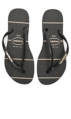 Slim Logo Metallic Fine Lines Sandal in Black
