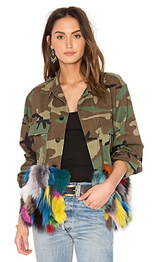 Field Fox Fur Panel Jacket in Multi