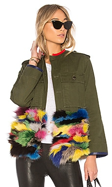 OD Field Jacket With Multicolor Fox Fur Panel