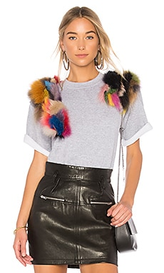 Top With Multicolor Faux Fur