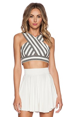 Hunter Bell Marcy Crop Top in Grey Stripe