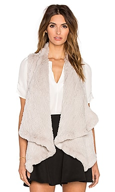 H Brand Audra Dyed Rabbit Fur Vest in Chalk