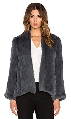 H Brand Emily Dyed Rabbit Fur Jacket in Thunder
