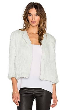 H Brand Lola Dyed Rabbit Fur Jacket in Mint