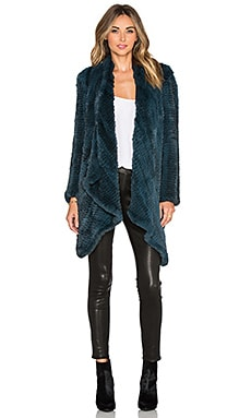 H Brand Ashleigh Rabbit Fur Coat in Teal