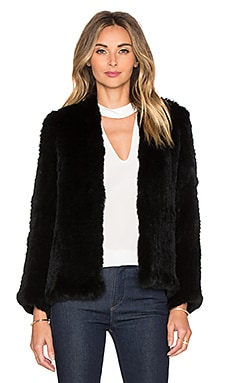 H Brand Emily Rabbit Fur Jacket in Black