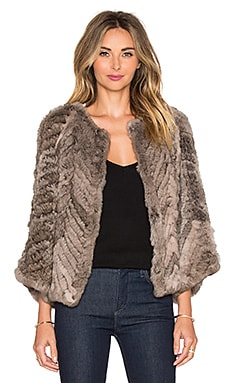 H Brand Jagger Rabbit Fur Jacket in Grey Smoke