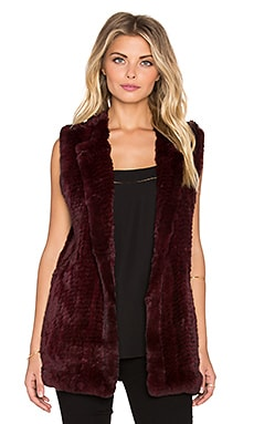 H Brand Libby Rabbit Fur Vest in Port