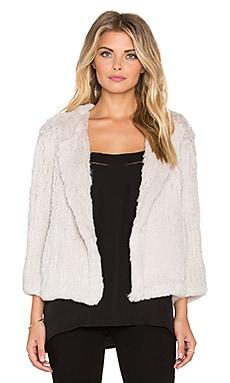 H Brand Lola Rabbit Fur Jacket in Chalk