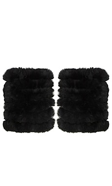 heartLoom Hilary Rabbit Fur Gloves in Black
