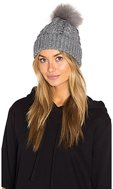 Tyler Beanie with Asiatic Raccoon Fur Pompom in Heather